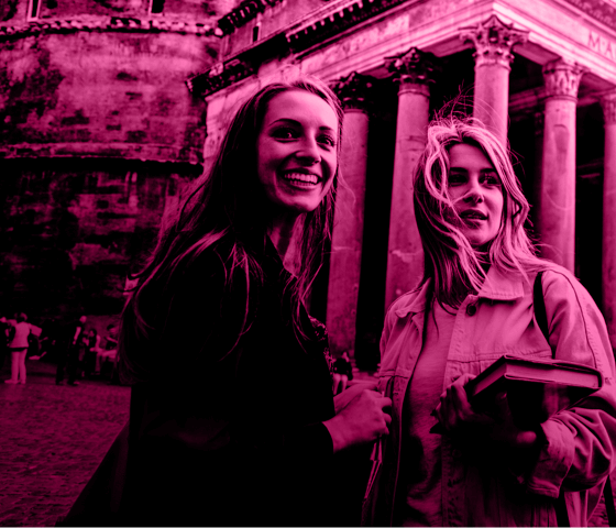 Two students studying abroad